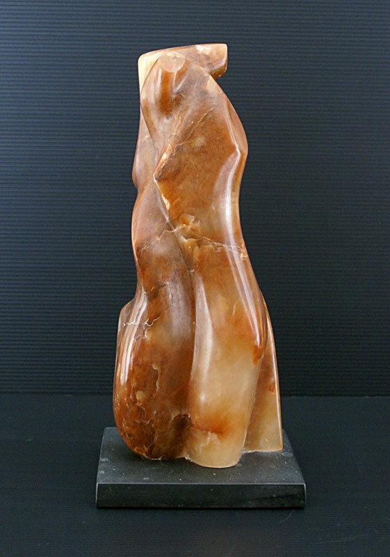 Lovers Embrace carved in reddish alabaster