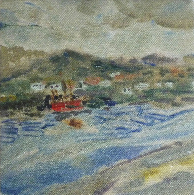 Small sketchy view of village of Portree, Skye