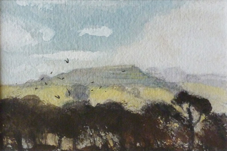 Distant view of Creech Hill, Somerset