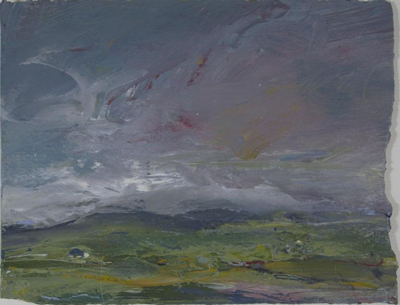 Shetland fields with threatening sky