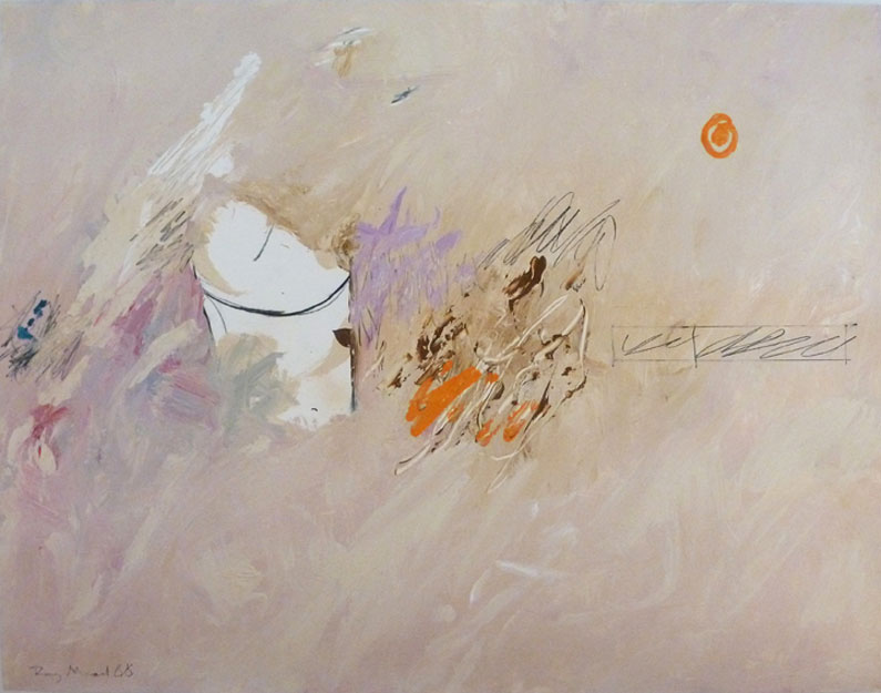 Pink and beige abstract with marks and splashes