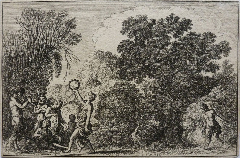Satyrs and nymphs dancing in a forest clearing