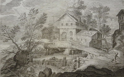 Aegidius Sadeler II – Inn and Houses near a Bridge