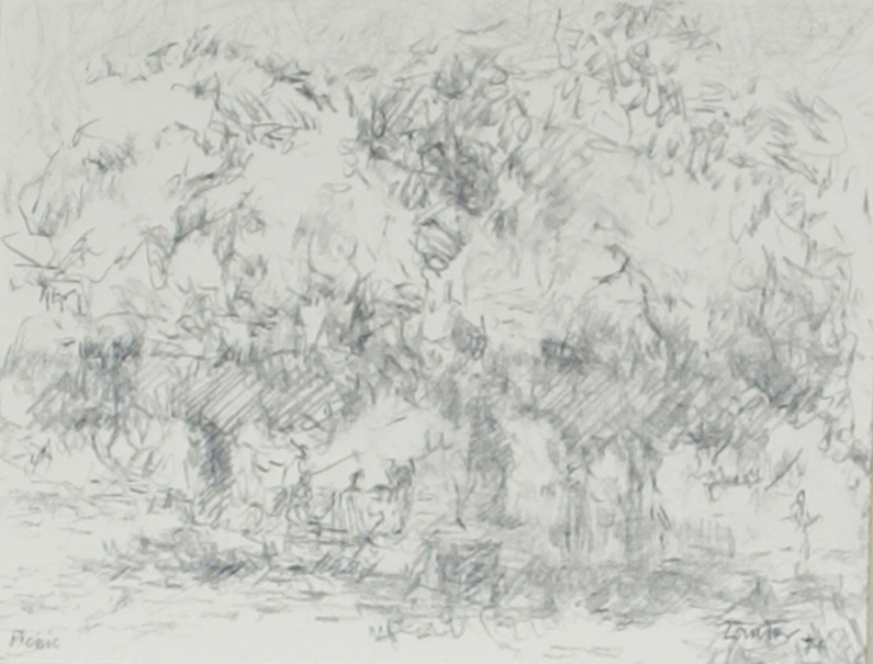 Drawing of two willow trees