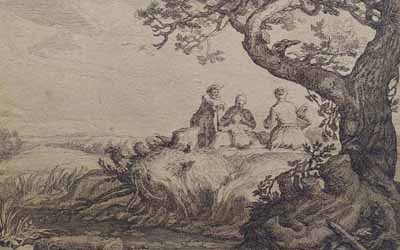 Frederick Bloemaert – Landscape with Tree and Figures