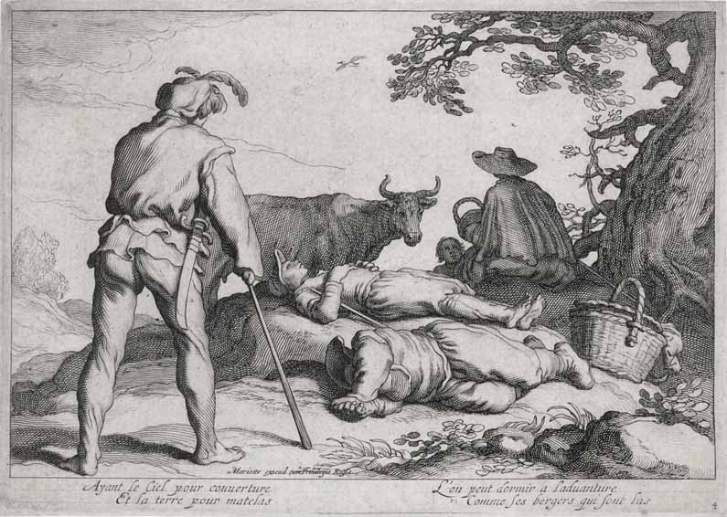 Two travellers by a stream in a wood