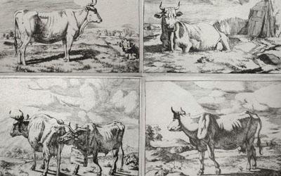 Marcus de Bye – Group of Four Cow prints