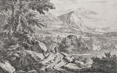 Abraham Genoels – Landscape with rocky bordered road